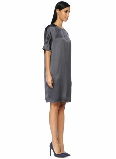 Fabiana Filippi V Yaka Şerit Detaylı Midi Saten Elbise Lacivert
